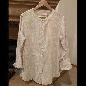 NWT St Tropez Linen Striped Blouse very Charming.